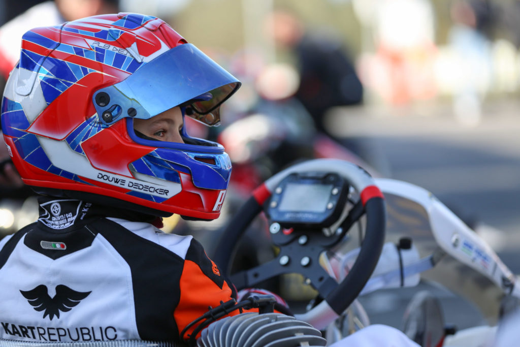 Douwe Dedecker straight on pace for his maiden race with Kart Republic