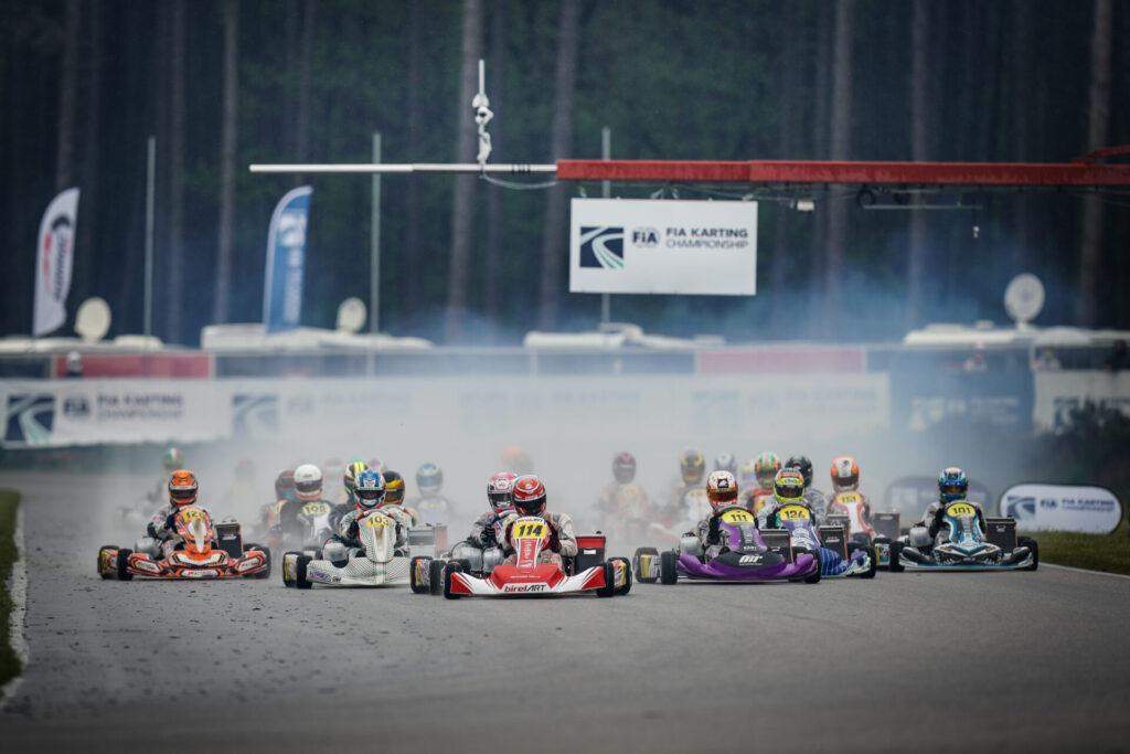 FIA Karting European Championship – OK/Junior: Rain plays with competitors' nerves in Saturday's heats
